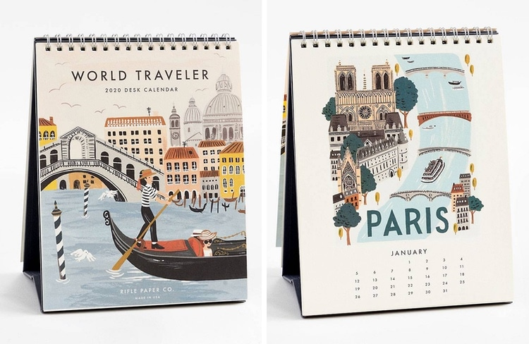 Calendrier de bureau World Traveler 2020