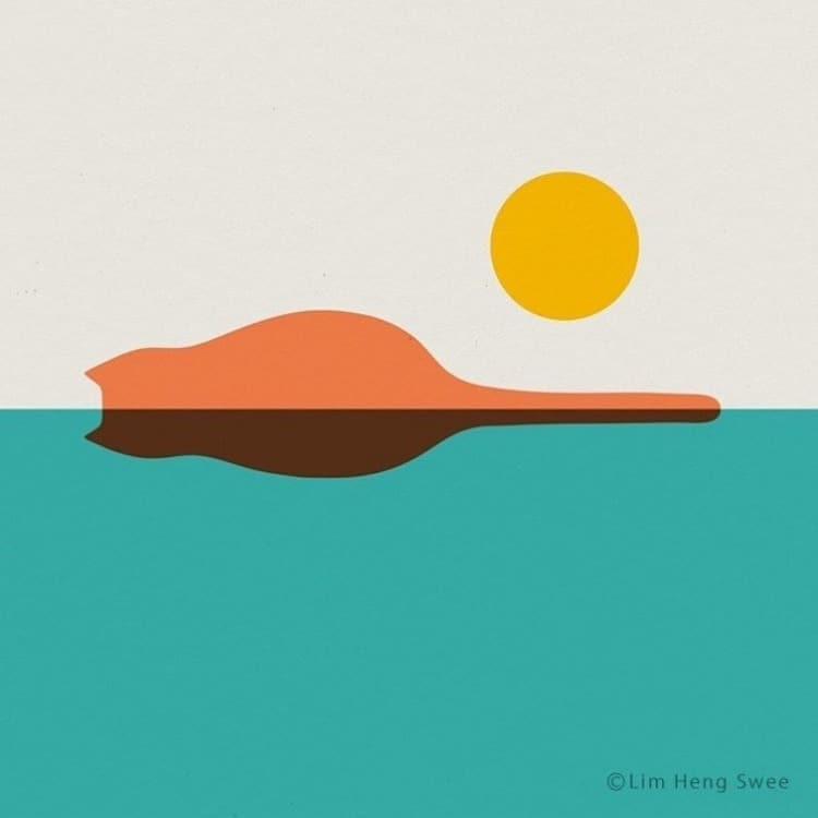 Illustrations de paysage de chat par Lim Heng Swee